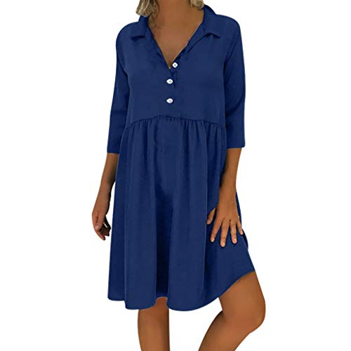 Aniywn Women's Plus Size Summer Dresses Short Sleeve V Neck A-Line Pleated Casual Swing Dress Navy