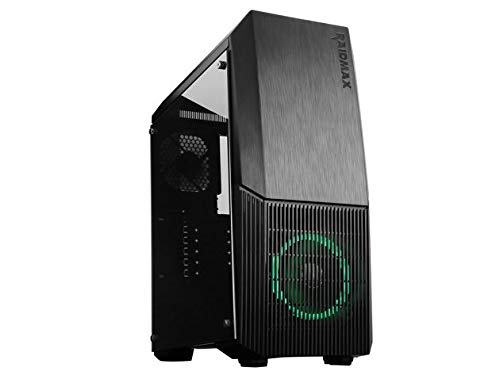 Raidmax Artio Gaming Computer Case with Tempered Galss Side Panel, LED Front Fan Pre-Installed (Raidmax Computer Case)