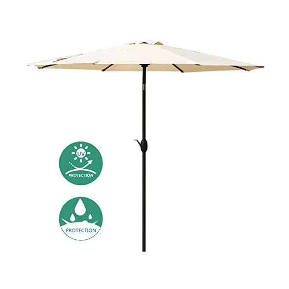 JEAREY 10 Ft Offset Patio Cantilever Umbrella Outdoor Market Hanging Umbrellas & Crank with Cross Base, 8 Ribs (Beige) - Premium 100% Polyester Fabric - Made of anti-UV 100% POLYESTER FABRIC that can be block up to 98% of harmful UV rays.The patio umbrella surface fade resistant,long lasting and waterproof.Top ventilated cover makes the wind pass through easier. Durable and sturdy frame - All-iron umbrella bones and 8 sturdy heavy-duty ribs are both powder-coated against rust and corrosion for long-term use.They can provide stronger support than the general frame. Simple Operation and Unique Design - Operate with crank lifting system for your easy and quick use.Easy-slide and lock operation system can keep away from the hot sunlight. - shades-parasols, patio-furniture, patio - 31UbSnHP0LL. SS570  -