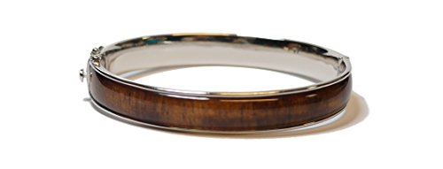 Sterling Silver Hawaiian Koa Wood 10mm Open Hinge Bangle Bracelet