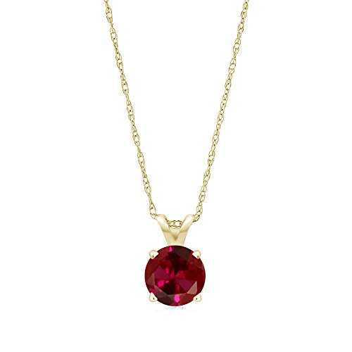 Gem Stone King 1.00 Ct Round Red Created Ruby 14K Yellow Gold Women s Pendant Necklace with 18inches Chain