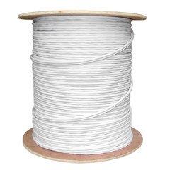 バルクrg59同軸/電源シャムケーブル、ホワイト、ソリッドCore (銅)同軸、18 / 2 ( 18 AWG 2 Conductor ) Stranded銅、電源、スプール1000足 B00CTNA49S