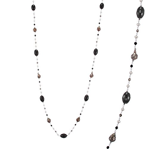 Sterling Silver 40 Inches Dyed Chocolate Freshwater Cultured Pearls with Black Onyx and Smoky Quartz Necklace (Quartz Onyx Necklace Smoky)