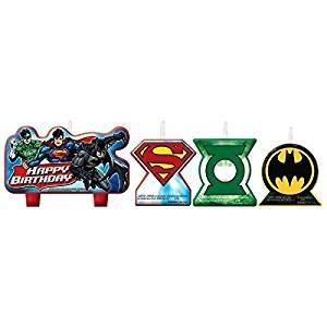 Adventure Filled Justice League Birthday Party Decorative Cake Candle Set, Multi Colored, Wax, Assorted Sizes, 4-Piece -