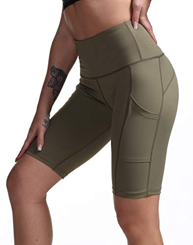 DILANNI Women High Waist Yoga Shorts Side Pocket Tummy Control Workout Running Athletic Short Pants Army Green Large ()