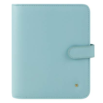 Compact Brushed Planner Love Simulated Leather Snap Binder - Blue