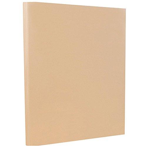 JAM PAPER Vellum Bristol 67lb Cardstock - 8.5 x 11 Letter Coverstock - Tan - 50 Sheets/Pack