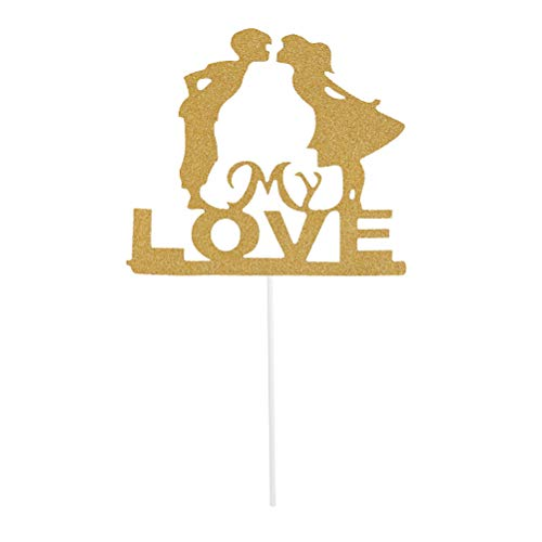BESTOYARD 5 Pcs Golden Couple My Love Cupcake Toppers Valentine's Day Glitter Paper Cupcake Picks Cake Decoration Supplies -