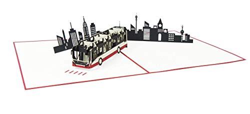 31Ubby2mjNL Bus Pop Up Karte Geburtstagskarte Glückwunschkarte Geburtstag Städtereisen Gutschein Stadtrundfahrt - Reisebus 194