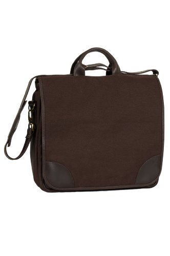 chill-n-go Cellar Briefcase, Cotton/Leather Four Bottle Wine Bag - Cotton Leather Briefcase