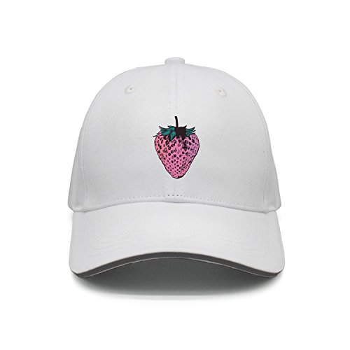 - Hey-ifx Twill Sandwich Cap Strawberry Illustration Adjustable Cap for Men & Women