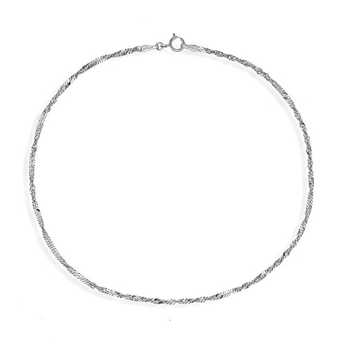 (Solid 10k White Gold 10 Inch 1.7mm Singapore Ankle Bracelet - JewelryWeb)