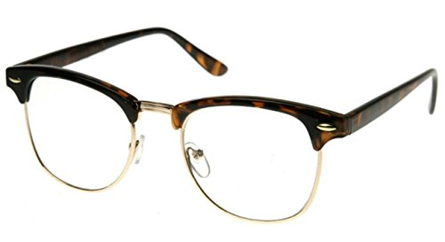 WebDeals - Retro Classic Nerd Clear Lens Fashion Glasses (Half Frame - Glasses Kids Stylish For
