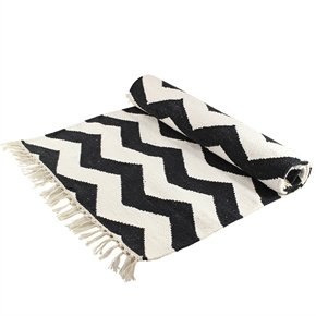 Teppich, Schwarz Weiß, Zick Zack Muster, 60 X 140 Cm