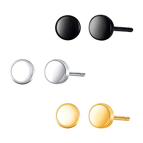 BriLove 925 Sterling Silver Minimalist Earrings Round Stud Earrings Set for Women (3 pairs, Black/Silver/Gold-Toned) ()