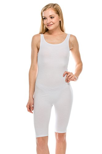 The Classic Womens Catsuit Cotton Stretch Knee Length Active One Piece Footed Jumpsuti (2XL, White)
