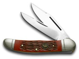 Pickbone Handle - Hen and Rooster Red Pickbone Copperhead Pocket Knife Knives