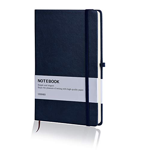 Hardcover Notebook, UERMEI Classic Thick Notebook with Pen Loop and Bookmark, A5 Ruled Paper, Qualified 194 Pages Professional Journal Notebook for School and Office, 8.4 x 5.7 in, Blue by UERMEI