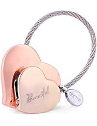 Heart to Heart Metal Keychain of Love for Women Sweet Couples Gift (Rose gold-light gold)