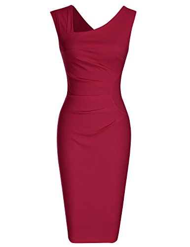 MUXXN Women's Retro 1950s Sleeveless Wear to Work Pencil Dress (2XL Burgundy)