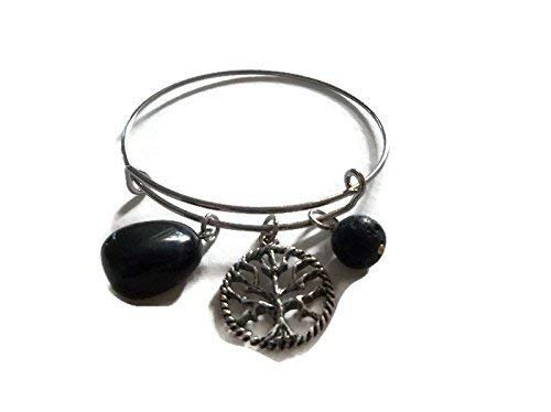 a64a36d2c18c5 Amazon.com: Black Onyx Tree of Life Bangle Charm Bracelet Lava Stone ...
