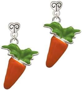 Enameled Carrot - Scroll Heart Earrings