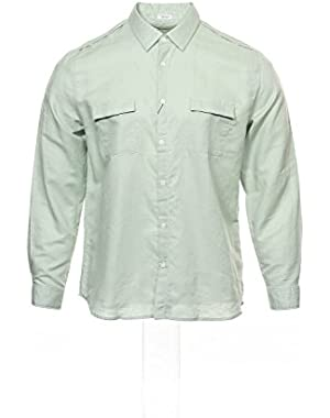 Calvin Klein Mens Long Sleeve Button Front Shirt Green Rolled Sage