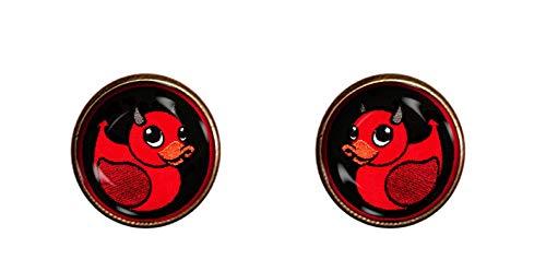 - Devil Duck Earrings 10mm Satanic Jewelry Rubber Duckie Gift Pendant Charm