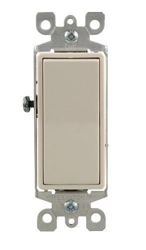 Leviton 5611-2T 15 Amp, 120/277 Volt, Decora Rocker Lighted Handle, Illuminated Off Single-Pole AC Quiet Switch, Residential Grade, Grounding, Light Almond