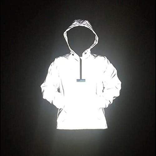 HJKH Fahrradjacke Reflektierende Pullover Jacke Reflektierende Zipper mit Kapuze Laufjacke for Männer und Frauen Hip-Hop-Nachtclub (Farbe : Grau, Größe : M)