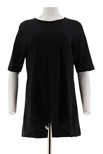 - Denim Co Essentials Elbow SLV Round Neck Tunic A290146, Black, L