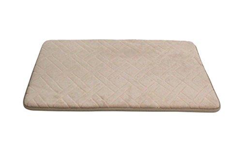 HOME BEYOND 17 x 24-Inch Basket-Weave Memory Foam Bath Mat (Khaki Tan)