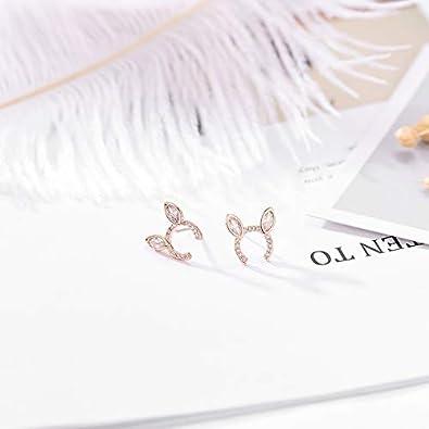 TIDOO Jewelry Womens Copper Stud Earring Cute Rabbit Ear Studs with Zircon for Girls