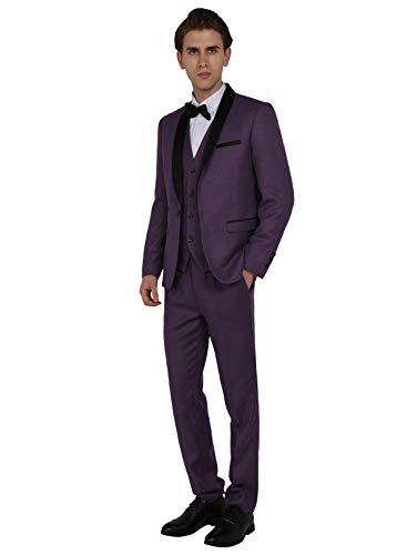 WEEN CHARM Men's Shawl Lapel 3-Pieces Suit Slim Fit One Button Dress Suit Blazer Jacket Pants Tux Vest Purple