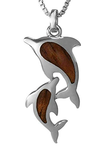 Aloha Jewelry Company Sterling Silver Koa Wood Mother & Baby Dolphin Necklace Pendant with 18