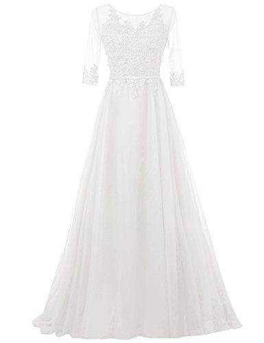 Elfenbein Hochzeitskleider Kurzarm Tüll Festkleider Linie Abendkleider Ballkleider Lang Damen A wq1nPIz