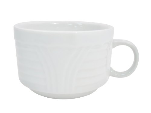 CAC China CRO-1-S Corona 3-1/2-Inch 8-Ounce Super White Porcelain Stacking Cup, Box of 36 - 8 Ounce Stacking Mug