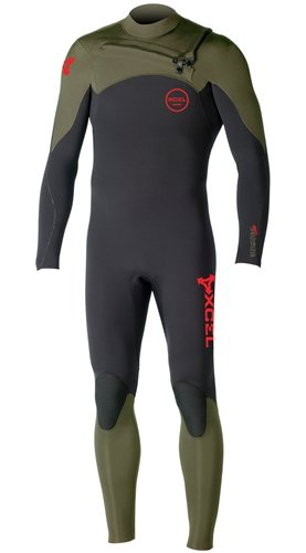 XCEL Hawaii Infiniti Comp 4/3 Chest-Zip Full Wetsuit - Men's Black/Moss, - Comp Wetsuit
