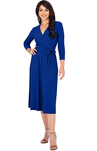 KOH KOH Petite Womens V-Neck 3/4 Long Sleeve Flowy Knee Length Fall Bow Wrap Modest Casual Simple Plain Loose Swing A-line Sun Day Work Office Midi Dress Dresses, Cobalt Royal Blue S 4-6