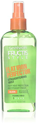Protects hair from flat iron heat - Garnier Fructis Style Sleek & Shine Flat Iron Perfector Straightening Mist 24 Hour Finish, 6 Fluid Ounce