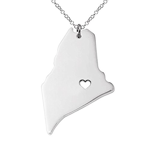 18K Gold Silver Country Map Charm Pendant Maine state Map Necklace Jewelry (Silver) (Tag 18k Heart Gold Necklace)