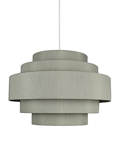 Urbanest Palladio 5-Tier Shade Pendant with Hanging Light Kit, Moss Gray Silk, 18-inch Diameter, 12-inch Height ()
