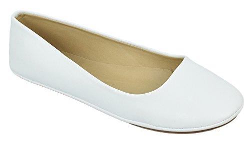Chaussures De Soude Femmes Ballerines Décontractées Talon Slip Sur Chaussures Basique Simple Bout Rond Confort Afar Blanc Pu