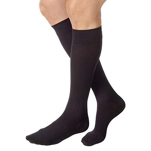 (JOBST Relief Knee High 20-30 mmHg Compression Socks, Closed Toe, Black, Medium )