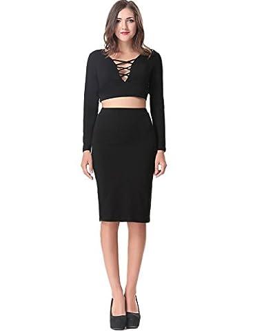 Aphratti Women's Long Sleeve Crop Top Midi Skirt Two Piece Set Bodycon Club Dress Small Black (Black Midi Set)