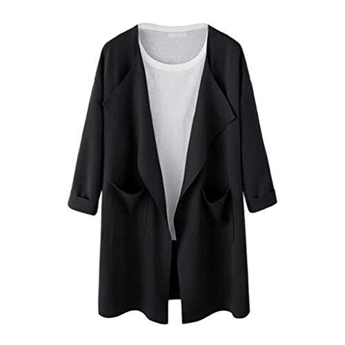 MEIbax Femmes Dames Causal Sweat Ouverte Long Manteau Veste Mode Outwear Cardigan Trench-Coat Femme, Manteau avec Passepoil Contrastant Noir