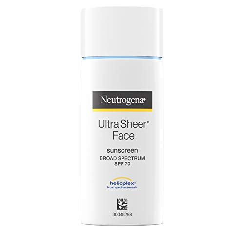 Neutrogena Ultra Sheer Liquid Daily Facial Sunscreen with Broad Spectrum SPF 70, Non-Comedogenic, Oil-Free & PABA-Free…