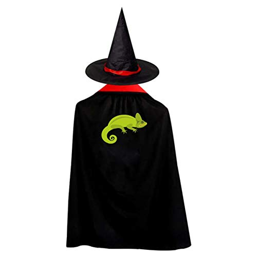 Kid's Green Chameleon Halloween Wizard Witch Cloak Cape Robe And -