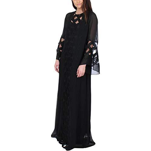 Juicy Couture Black Label Womens Chiffon Lace Trim Caftan Dress Black S
