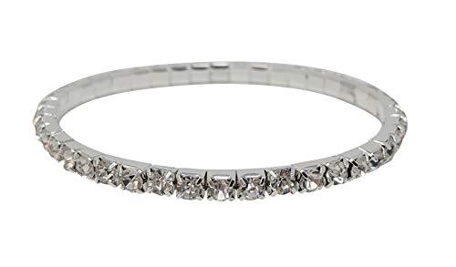 - SIMPLICHIC Rhinestone Stretch Bracelet Gold-Tone Silver-Tone (Silver (1-Line) - Single Pack)